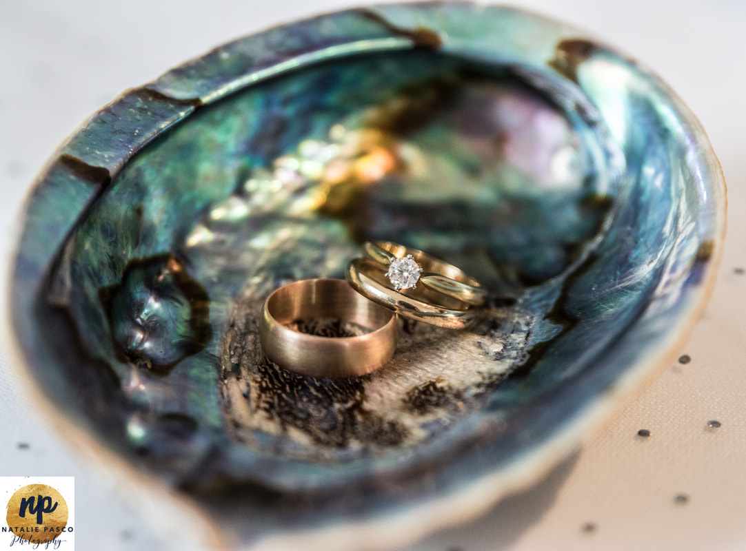 Paua shell with wedding rings